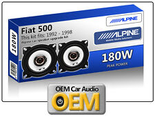 "FIAT 500 Anteriore Dash Altoparlanti Alpine 10cm 4"" KIT CAR SPEAKER 180W MAX"