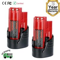 2 Pack New 12V 3.0Ah Lithium-ion Battery for Milwaukee M12 48-11-2420 48-11-2401