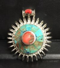 Turquoise and Coral Sterling Silver Pendant