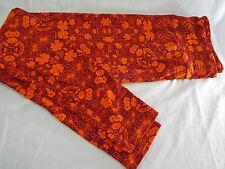 Womens LuLaRoe OS One Size Leggings Orange Dark Red Flowers