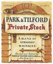 1930's Park & Tilford Private Stock Whiskey Label - New York, NY