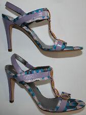 "AUTH NEW MISSONI Shoes £999 EU38.5/UK5.5/8.5 Slingbacks 4"" Heel Purple/Blue/Gold"
