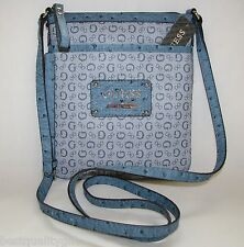 NEW-GUESS MARCIANO BLUE PROPOSAL MINI PVC SIGNATURE LOGO CROSSBODY HAND BAG