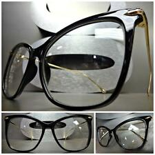 CLASSIC VINTAGE RETRO CAT EYE Style Clear Lens EYE GLASSES Black & Gold Frame