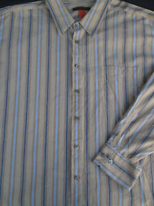 Nyne Mens Button Front Long Sleeve Cotton Beige Multi Stripe Shirt 4X 4XL XXXXL