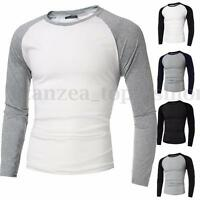 INCERUN Men's Casual Slim Fit Long Sleeve Crew Neck Raglan T-shirt Top Tee S-4XL