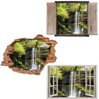 Window Wall Sticker Decal Vinyl 3D Waterfall Forest Trees home art room decor