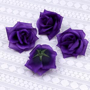 20-100PCS Dark Purple Fake Rose Artificial Silk Flower Heads Wedding Home Decor