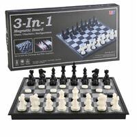 Folding Board Chess With black and white magnetic Travel 3in1 Chess Game Set UK