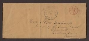 Illinois: Springfield 1850s Stampless Cover, Black CDS, Red Circled RARE PAID 9