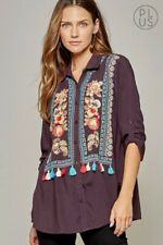 PLUS SIZE BOHO ANDREE BY UNIT EMBROIDERED 3/4 SLEEVE PLUM TUNIC TOP 1X 2X 3X