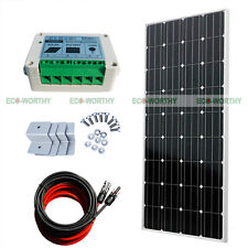 COMPLETE KIT 160W Watt PV Mono Solar Panel 12V RV Boat Off Grid Battery Charger