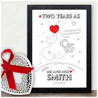 PERSONALISED 1st 2nd 5th 10th Wedding Anniversary Gifts for Mr and Mrs ANY YEAR