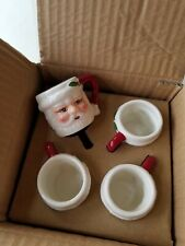 Pottery Barn Santa Shot Figural Mug Glasses Set of 4 #4186