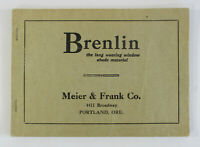 Vintage c1910 MEIER & FRANK Co. BRENLIN Window Shade Sample Booklet Advertising