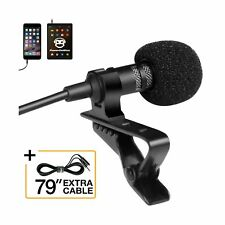 Professional Grade Lavalier Lapel Microphone  Omnidirectional Mic with Easy C...