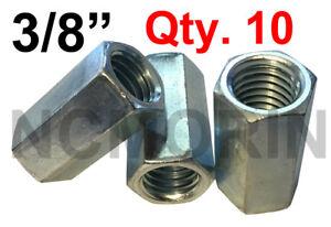 Qty 10 Hex Rod Coupling Nuts 3/8-16 x 1-1/8 Threaded Rod Connectors Zinc Coupler