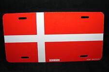 DENMARK FLAG METAL NOVELTY LICENSE PLATE TAG FOR CARS