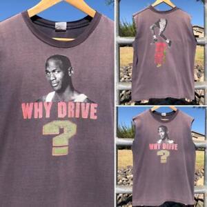 Rare VTG 90s Nike Michael Jordan Why Drive When You Can Fly NBA Bulls T Shirt L