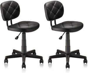 PU Leather Rolling Stool Chair Adjustable Height Backrest Standing Desk Computer