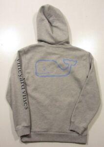 Vineyard Vines Boys Gray Heather Graphic Whale Full Zip Hooded Sweatshirt Hoodie