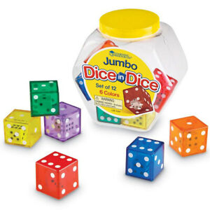 Learning Resources Jumbo Dice in Dice, Set of 12 x Children's 3cm Maths Dice