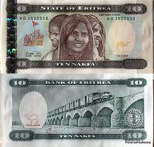 ERITREE billet neuf de 10 NAFKA erythree pont train  Pick 3 de1997 eritrea