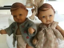 Antique vintage miniature dolls,Two rubber dolls house toy dolls.