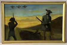 Antique American Folk Art Oil Painting of Duck Shooting at Dusk, 19th Century