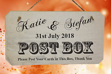 Personalised Wedding POST BOX Sign ❤ Rustic Wooden Sign ❤ White Washed Finish