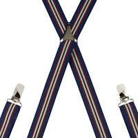 Leather End Wine Navy Natural Stripe Trouser Braces Mens Suspenders