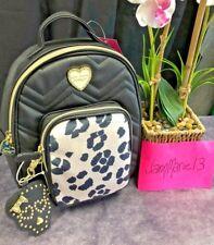 NEW Betsey Johnson Black Leopard Medium Backpack Book Bag Purse Skull Mirror FOB