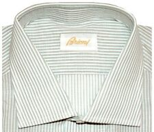 $600 NEW BRIONI TAUPE TURQUOISE WHITE STRIPES COTTON LINEN DRESS SHIRT 17