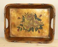 Vintage hand painted floral metal tole tray platter bowl