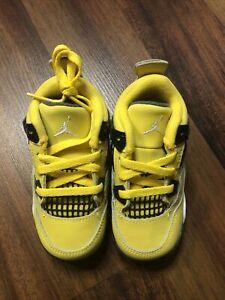 "Toddler's Jordan 4 Retro ""Lightning"" Tour Yellow Dark Blue Grey BQ7670 700"