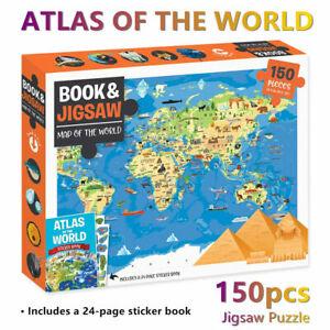 World Map Atlas Hinkler Jigsaw Puzzle 150 Piece Set Kids Toys Activity Games