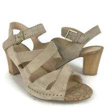 Clarks Women Slingback Sandals 6 M US Heel Spiced Ava Sand Suede Leather Beige