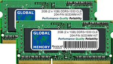 2GB (2x 1gb) DDR3 1333mhz pc3-10600 204-pin SODIMM Kit de Memoria RAM para
