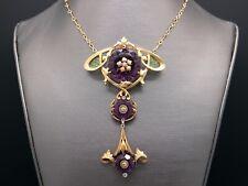 Art Nouveau 14k Gold 26ct Amethyst Diamond Plique A Jour Floral Necklace 20 inch