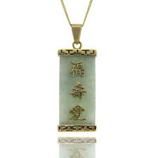 Dolce Giavonna 18k Yellow Gold over Sterling Silver Jade Chinese Character Neckl