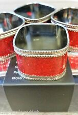 RED GLITTER NAPKIN RINGS - Table Ware, great for Christmas SET OF 4