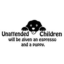 "WALL - Unattended Children - Wall Vinyl Decal (16.5""w x 7.25""h) (BLACK)"
