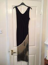 Black Gold-Fringed V-neck Evening dress With Belt Detail Midi-length