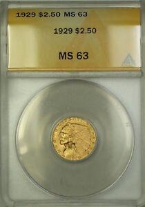 1929 $2.50 Indian Quarter Eagle Gold Coin ANACS MS-63 Choice BU