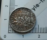 H13309 50 centimes de franc semeuse 1912 pièce de monnaie argent