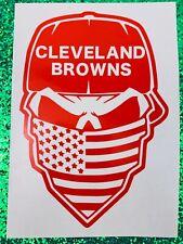 Cleveland Browns Skull Orange Vinyl Car Decal New Gift