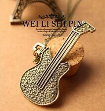 RF Vintage Retro Style Bronze Guitar Long Chain Pendant Necklace For Unisex