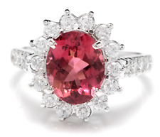 3.90 Carats Natural Tourmaline and Diamond 14K Solid White Gold Ring