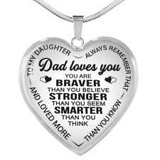To My Daughter Necklace From Dad Loves You Heart Pendant Luxury Gifts For Girls