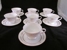 Grano by Empress China (Japan) 7 Cups & Saucers Wheat Gold Design Gold Trim 1813